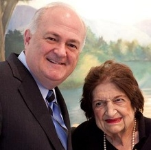 Helen Thomas poses with President Knapp
